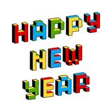 Happy New Year text in style of old 8-bit video games. Vibrant colorful 3D Pixel Letters. Creative poster, flyer Vector Illustration