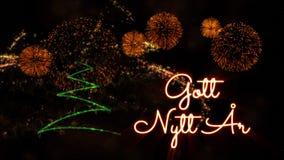 Happy New Year text in Swedish \'Gott Nytt Ar\' over pine tree and. Happy New Year text in Swedish 'Gott Nytt Ar' over pine tree with sparkling particles and royalty free stock photo