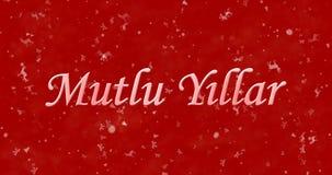 Happy New Year text in Turkish Mutlu Y?llar on red background. Happy New Year text in Turkish Mutlu Yillar on red background Stock Photo