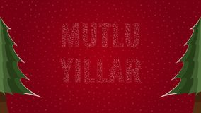 Happy New Year text in Turkish 'Mutlu Yillar' filled with text on a red snowy background with trees on sides. Happy New Year text in Turkish 'Mutlu Yillar' stock illustration