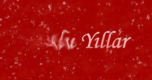 Happy New Year text in Turkish Mutlu Yillar turns to dust from. Left on red background Royalty Free Stock Photo