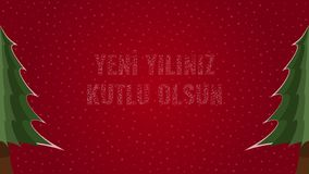 Happy New Year text in Turkish 'Yeni Yiliniz Kutlu Olsun' filled with text on a red snowy background with trees on sides. Happy New Year text in Turkish 'Yeni stock illustration