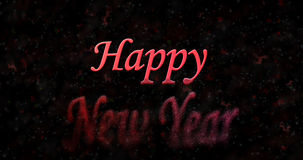 Happy New Year text turns to dust from bottom on black backgroun. D Vector Illustration