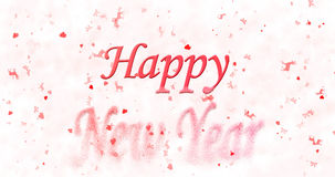 Happy New Year text turns to dust from bottom on white backgroun. D Stock Image