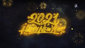 2021 Happy New Year Text Wishes Reveal From Firework Particles Greeting card.