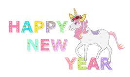 Happy new year text with unicorn. Party invitation. Christmas and happy new year greeting card. Magical year. Background stock illustration