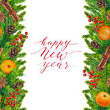 Happy New Year text on watercolor christmas border of fir branches. Cones and red berry, christmas lettering on watercolour hand painted xmas frame for holiday Royalty Free Stock Photo