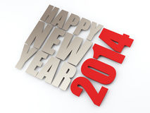 Happy new year 2014. Text on white  background. 3d image Royalty Free Stock Images