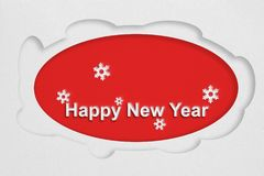Happy New Year text on white paper. Paper cut illustration design stock illustration