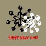 Happy new year text. White snowflake on gray background. White, black and red brush calligraphy. Vector holidays card. Happy new year text. White snowflake on stock illustration