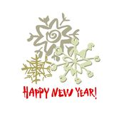 Happy new year text. White snowflake on white background. White, gray and red brush calligraphy. Vector holidays card. Happy new year text. White snowflake on stock illustration