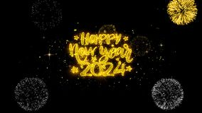 Happy New Year 2024 Text Wish Reveal on Glitter Golden Particles Firework.