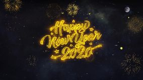 Happy New Year 2020 Text Wishes Reveal From Firework Particles Greeting card.