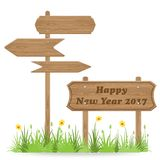 Happy New Year 2017 text on Wooden signpost. With grass flower isolated on white. vector illustration stock illustration