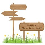 Happy New Year 2017 text on Wooden signpost. With grass flower isolated on white. vector illustration vector illustration