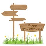 Happy New Year 2017 text on Wooden signpost. With grass flower isolated on white. vector illustration royalty free illustration