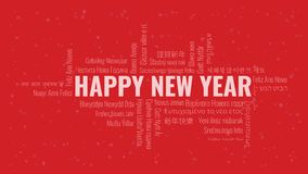 Happy New Year text with word cloud on a red background. Happy New Year text with word cloud in many languages on a red snowy background stock illustration
