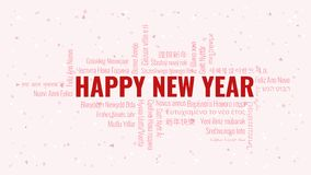 Happy New Year text with word cloud on a white background. Happy New Year text with word cloud in many languages on a white snowy background royalty free illustration