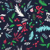 Happy New Year texture. Vector seamless pattern with Christmas symbols. Hand drawn illustration with floral elements and christmas balls. Doodle style Vector Illustration