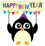 Happy New Year theme with cute penguin Stock Photography