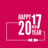 Happy new year 2017. Theme. for greeting card, flyer, invitation, poster, brochure, banner, calendar, Christmas Meeting events Vector Outline plug with socket Stock Photos