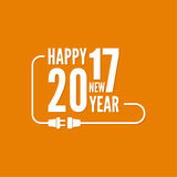 Happy new year 2017. Theme. for greeting card, flyer, invitation, poster, brochure, banner, calendar, Christmas Meeting events Vector Outline plug with socket Stock Photo