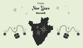 Happy New Year theme with map of Burundi Stock Photos