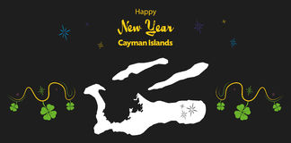 Happy New Year theme with map of Cayman Islands Stock Image