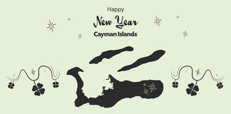 Happy New Year theme with map of Cayman Islands Royalty Free Stock Image