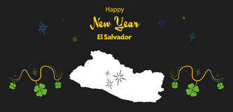 Happy New Year theme with map of El Salvador Royalty Free Stock Photos