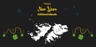 Happy New Year theme with map of Falkland Islands. Happy New Year illustration theme with map of Falkland Islands Royalty Free Stock Photo