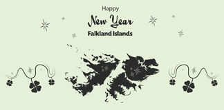 Happy New Year theme with map of Falkland Islands Stock Photo