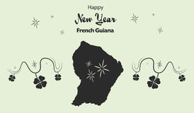 Happy New Year theme with map of French Guiana Royalty Free Stock Image