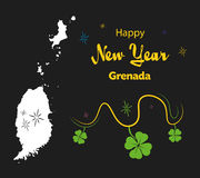 Happy New Year theme with map of Grenada Royalty Free Stock Photo