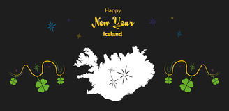Happy New Year theme with map of Iceland Stock Photos