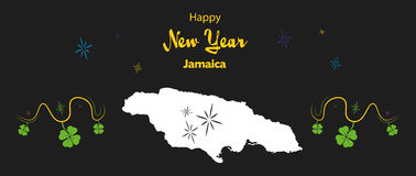 Happy New Year theme with map of Jamaica Royalty Free Stock Photos