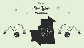 Happy New Year theme with map of Mauritania Stock Images