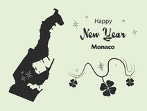 Happy New Year theme with map of Monaco Stock Photography