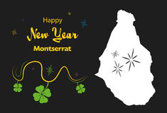 Happy New Year theme with map of Montserrat Royalty Free Stock Photos