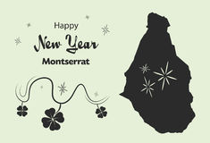 Happy New Year theme with map of Montserrat Stock Image