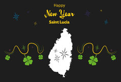 Happy New Year theme with map of Saint Lucia Stock Photo