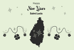 Happy New Year theme with map of Saint Lucia Royalty Free Stock Images