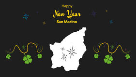 Happy New Year theme with map of San Marino. Happy New Year illustration theme with map of San Marino Stock Photography