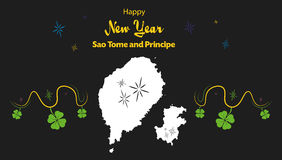Happy New Year theme with map of Sao Tome and Princ Stock Photos