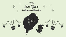 Happy New Year theme with map of Sao Tome and Princ Royalty Free Stock Photo