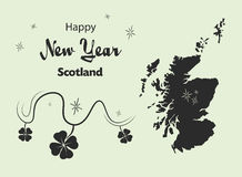 Happy New Year theme with map of Scotland vector illustration