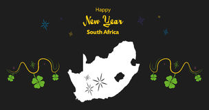 Happy New Year theme with map of South Africa Royalty Free Stock Photos