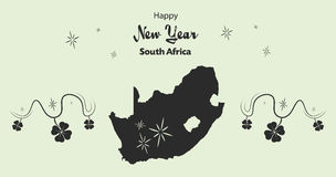 Happy New Year theme with map of South Africa Stock Photography