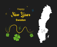 Happy New Year theme with map of Sweden Stock Photography