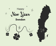 Happy New Year theme with map of Sweden Royalty Free Stock Images